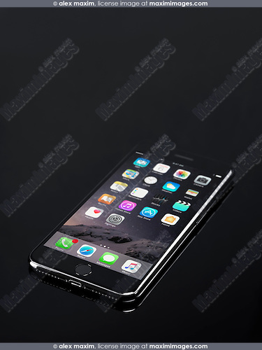 Apple iPhone 7 Plus with desktop icons on its display isolated on black background