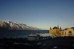 Chateau in the town square overlooking Lake Léman. Vevay, Switzerland