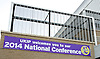 UKIP National Party Conference <br /> Day 2<br /> at Doncaster Race Course, Doncaster, Great Britain <br /> 27th September 2014 <br /> <br /> Welcome signage outside conference <br /> <br /> Photograph by Elliott Franks <br /> Image licensed to Elliott Franks Photography Services