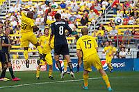 24 OCTOBER 2010:  Columbus Crew forward Emilio Renteria (20) heads the ball during MLS soccer game against the Philadelphia Union at Crew Stadium in Columbus, Ohio on August 28, 2010.