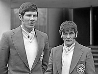 Gordon Ferris, left, and John Rodgers, members of the N Ireland boxing team for the 1974 Commonwealth Games. 1974001090016b.<br /> <br /> Copyright Image from Victor Patterson, 54 Dorchester Park, Belfast, UK, BT9 6RJ<br /> <br /> t: +44 28 90661296<br /> m: +44 7802 353836<br /> vm: +44 20 88167153<br /> e1: victorpatterson@me.com<br /> e2: victorpatterson@gmail.com<br /> <br /> For my Terms and Conditions of Use go to www.victorpatterson.com
