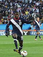 Second-half substitute Marice Edu controls the ball in transitioning through the midfield. The United States came from a 2-0 halftime deficit to Slovenia to earn a 2-2 draw their second match of play in Group C of the 2010 FIFA World Cup.