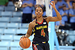 05 January 2014: Maryland's Lexie Brown.The University of North Carolina Tar Heels played the University of Maryland Terrapins in an NCAA Division I women's basketball game at Carmichael Arena in Chapel Hill, North Carolina. Maryland won the game 79-70.