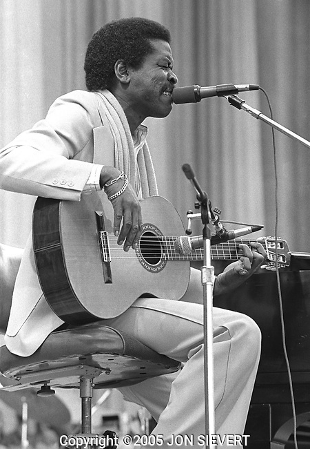 Jon Lucien, Berkeley Jazz Festival, 5/25/80. Jazz balladeer, songwriter and guitarist. He was the forerunner of the melange of sounds dubbed fusion. His melodic and rhythmic influences ranged from his native Caribbean -- calypso, in particular -- to the beats of jazz, bossa nova, soul and R&B.