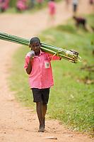 Payrus reed and children, Kibale, Uganda, East Africa