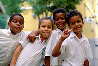 US Virgin Islands, Charlotte  Amalie, Young school children posing for a group portrait