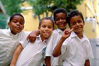 US Virgin Islands, Charlotte  Amalie, Young school children posing for a group portrait