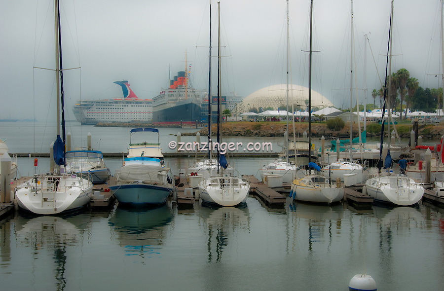 Long Beach, Southern California, USA,  Maya Marina, Queen Mary, Carnival Paradise Cruise Ship, Misty, romantic, morning High dynamic range imaging (HDRI or HDR)