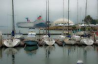 Long Beach, Southern California, USA,  Maya Marina, Queen Mary, Carnival Paradise Cruise Ship, Misty, romantic, morning High dynamic range imaging (HDRI or HDR)