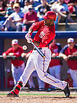 13 March 2014: Washington Nationals outfielder Brian Goodwin in action during a Spring Training game against the New York Mets at Space Coast Stadium in Viera, Florida. The Mets defeated the Nationals 7-5 in Grapefruit League play. Mandatory Credit: Ed Wolfstein Photo *** RAW (NEF) Image File Available ***