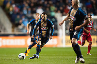 Jack McInerney (9) of the Philadelphia Union passes the ball to Conor Casey (6). The Philadelphia Union defeated the Chicago Fire 1-0 during a Major League Soccer (MLS) match at PPL Park in Chester, PA, on May 18, 2013.
