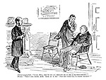 """Patient (ex-pugilist). """"I say, Bill, yer've bin an' brought me to see a feather-weight!"""" Friend. """"That's all right, mite. Look at 'is 'ed! Just you wite till 'e starts thinkin'!"""" (a boxer visits the hospital to see a doctor)"""