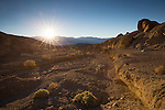 California, Southeast, Death Valley National Park, Furnace Creek. Just before sunset overlooking a wash from the Artist Drive off Badwater Basin Road in November.