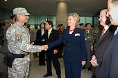 United States Secretary of State Hillary Rodham Clinton and U.S. Secretary of Defense Robert M. Gates and meet with U.S. and Korean troops at the Freedom House in the demilitarized zone that separates the two Koreas since the Korean War, north of Seoul, South Korea, Wednesday, July 21, 2010.  .Mandatory Credit: Cherie Cullen - DoD via CNP