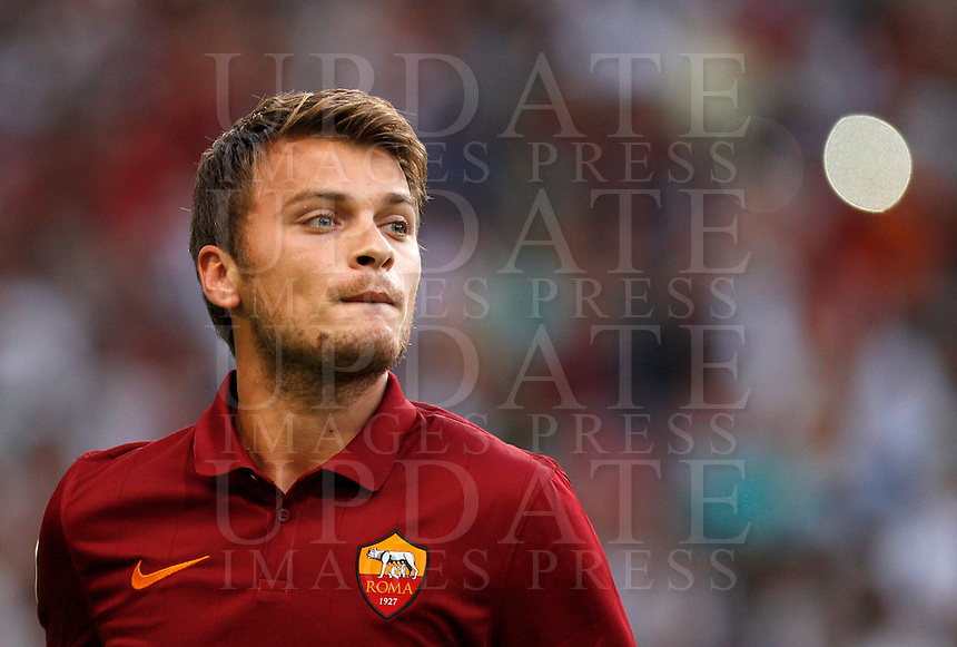 Calcio, amichevole Roma vs Fenerbahce. Roma, stadio Olimpico, 19 agosto 2014.<br /> Roma forward Adem Ljajic, of Serbia, arrives for the team's presentation, prior to the friendly match between AS Roma and Fenerbahce at Rome's Olympic stadium, 19 August 2014.<br /> UPDATE IMAGES PRESS/Riccardo De Luca