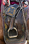 Close-up of a saddle, Mongolia