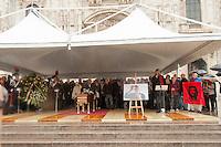 15 Ott 2016, Cerimonia laica in piazza Duomo per il saluto della citt&agrave; di Milano a Dario Fo.<br /> October 15, 2016, secular ceremony in Piazza Duomo for the greetings of the city of Milan to Dario Fo.