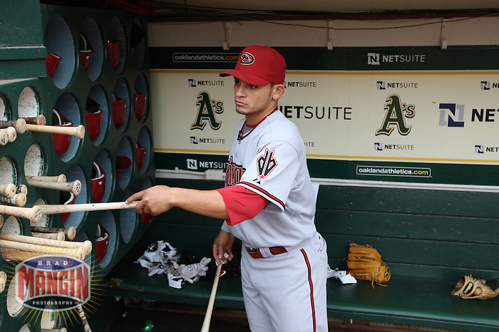 OAKLAND, CA - MAY 23:  Gerardo Parra #9 of the Arizona Diamondbacks gets ready in the dugout before the game against the Oakland Athletics at Oakland-Alameda County Coliseum on May 23, 2009 in Oakland, California. Photo by Brad Mangin