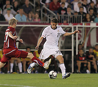 USA midfielder Alejandro Bedoya (28) passes the ball as Czech Republic midfielder Tomas Hubschman (17) closes. In the Send Off Series, the Czech Republic defeated the US men's national team, 4-2, at Rentschler Field in East Hartford, Connecticut, on May 25, 2010.