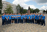 St Johnstone v FC Minsk...01.08.13   Europa League Qualifier<br /> The St Johnstone squad pictured by a statue of Lenin in Grodno Civic Square.<br /> Picture by Graeme Hart.<br /> Copyright Perthshire Picture Agency<br /> Tel: 01738 623350  Mobile: 07990 594431