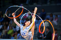 Melitina Staniouta of Belarus performs with ribbon at 2009 World Cup at Portimao, Portugal on April 19, 2009.  (Photo by Tom Theobald).