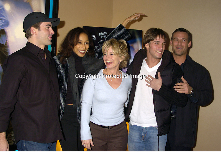 """Chris Beetem, Tamara Tunie, Mary Beth Evans and Agim Kaba and Grayson McCouch ..at a celebrity screening of """"G5"""" a new movie starring..Grayson McCouch, Amy Locaine and Michelle Geisner on ..November 29, 2004 at the UA Battery Park City Stadium..Theatre. Photo by Robin Platzer, Twin Images"""