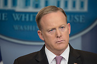 Washington DC, April 13, 2017, USA: Sean Spicer, the White House Press Secretary gives the daily press briefing on President Trump's activities. <br /> CAP/MPI/PYL<br /> &copy;PYL/MPI/Capital Pictures