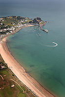 Aerial image of Gorey Castle Jerseys east coast.