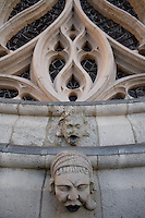 Detail of the Gothic flamboyant style ornaments, Rose window, western facade, Amiens Cathedral, 13th century, Amiens, Somme, Picardie, France. Picture by Manuel Cohen