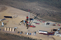 aerial photograph natural gas drilling rig southern Wyoming