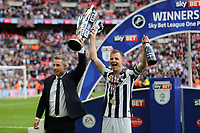 Millwall Manager, Neil Harris and captain, Tony Craig celebrate winning the Division One Play-Off Final during Bradford City vs Millwall, Sky Bet EFL League 1 Play-Off Final at Wembley Stadium on 20th May 2017