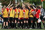 04 October 2009: Maryland's players huddle before the game. The University of Maryland Terrapins defeated the Duke University Blue Devils 4-0 at Koskinen Stadium in Durham, North Carolina in an NCAA Division I Women's college soccer game.