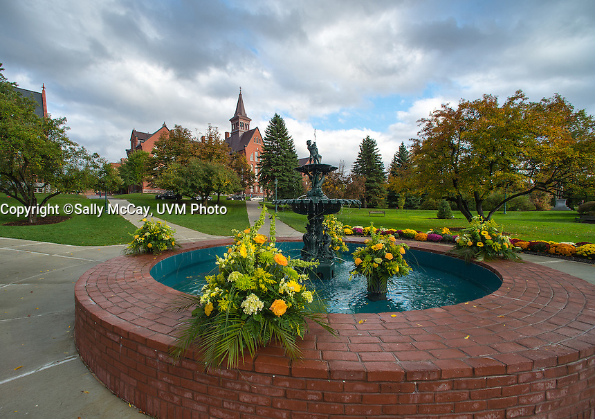 The Howard Fountain on the UVM Green, Fall UVM Campus