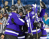 The Mavericks celebrate their third goal which stood as the gamewinner. - The visiting Minnesota State University-Mankato Mavericks defeated the University of Massachusetts-Lowell River Hawks 3-2 on Saturday, November 27, 2010, at Tsongas Arena in Lowell, Massachusetts.
