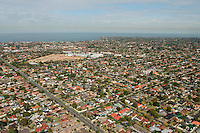 Aerial vView of suburban Melbourne with Port Phillip Bay in background, Victoria. Australia<br />