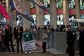 "Kiev, Ukraine.May 21, 2005 ..Anti- government protesters outside the Eurovision hall in Kiev, demand their rights after the country was swept away by the ""Orange Revolution"", that brought the current President Victor Yushchenko to power..."