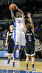 Junior forward Samarie Walker attacks the basket at the Women's Basketball game at Memorial Coliseum in Lexington, Ky., on Saturday, November. 17, 2012..