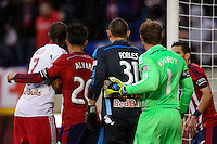 New York Red Bulls goalkeeper Luis Robles (31) stands next to Chivas USA goalkeeper Dan Kennedy (1) moments before the New York Red Bulls scored the game tying goal in second half stoppage time. The New York Red Bulls and Chivas USA played to a 1-1 tie during a Major League Soccer (MLS) match at Red Bull Arena in Harrison, NJ, on March 30, 2014.