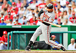 19 June 2011: Baltimore Orioles' outfielder Nick Markakis in action against the Washington Nationals on Father's Day at Nationals Park in Washington, District of Columbia. The Orioles defeated the Nationals 7-4 in inter-league play, ending Washington's 8-game winning streak. Mandatory Credit: Ed Wolfstein Photo