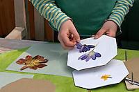 Kinder basteln ein Fensterbild mit Blüten, Mädchen klebt zuvor gepresste Blüten auf ein Pergamentpapier