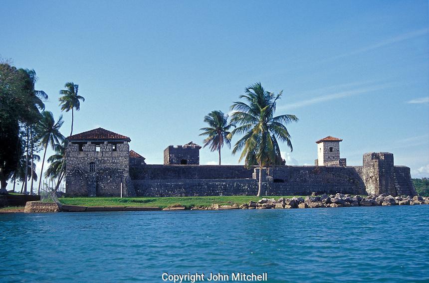 El Castillo de San Felipe, a restored 17th century fort on Lago de Izabel, Guatemala