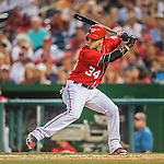 28 May 2016: Washington Nationals outfielder Bryce Harper in action against the St. Louis Cardinals at Nationals Park in Washington, DC. The Cardinals defeated the Nationals 9-4 to take a 2-games to 1 lead in their 4-game series. Mandatory Credit: Ed Wolfstein Photo *** RAW (NEF) Image File Available ***