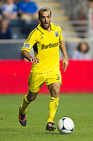 Federico Higuain (33) of the Columbus Crew. The Columbus Crew defeated the Philadelphia Union 2-1 during a Major League Soccer (MLS) match at PPL Park in Chester, PA, on August 29, 2012.