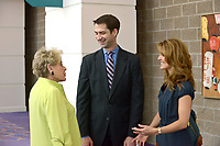 NWA Democrat-Gazette/BEN GOFF @NWABENGOFF<br /> Cheryl Westmoreland (left) of Rogers chats with U.S. Sen. Tom Cotton (R-Ark.) and wife Anna Cotton Thursday, April 20, 2017, while attending the second installment of the Winthrop Paul Rockefeller Distinguished Lecture Series presented by the United States Marshals Museum, at the Fort Smith Convention Center in Fort Smith.
