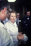 Maggie Thatcher on factory visit to Telfers,24 Feb 1978, ( they make meat pies, ) of  Northampton preparing for the  1979 General Election campaign England. UK