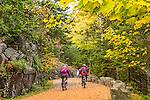 Bikingthe carriage paths in Acadia National Park, Maine, USA