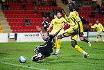 St Johnstone v Kilmarnock....06.11.10  .Andy Jackson goes down after being pulled down by Mohamadou Sissoko, but ref Iain Brines refused to give a penalty.Picture by Graeme Hart..Copyright Perthshire Picture Agency.Tel: 01738 623350  Mobile: 07990 594431