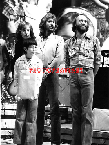 Bee Gees 1979 Robin Gibb, Maurice Gibb and Barry Gibb at UNICEF concert at the UN