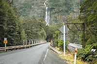 Bridge over Tutoko River near Milford Sound, Fiordland National Park, Southland, World Heritage Area, New Zealand