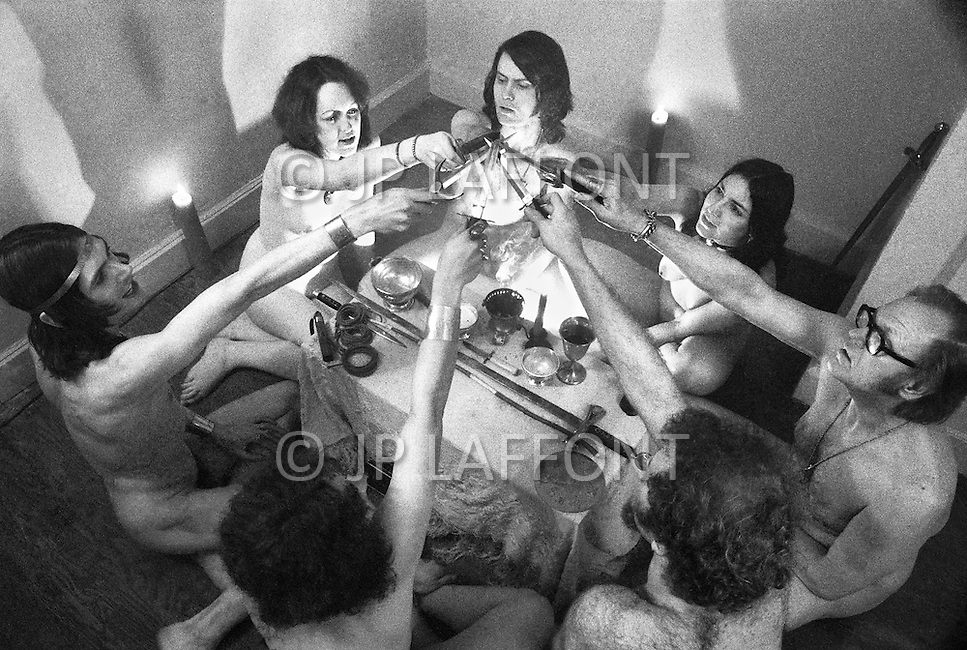 Brooklyn, New York City, NY. April 1974. <br /> Witchcraft is the oldest religion. 7 witches hold meetings at full moon occasions.